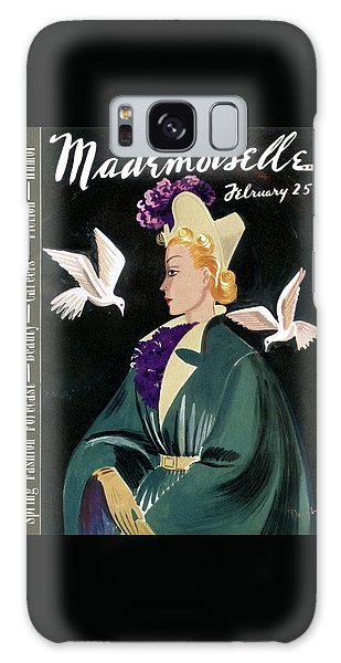 Magazine Cover Galaxy Case - Mademoiselle Cover Featuring A Model In A Green by Elizabeth Dauber