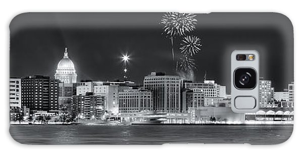 Madison - Wisconsin -  New Years Eve Panorama Black And White Galaxy Case by Steven Ralser