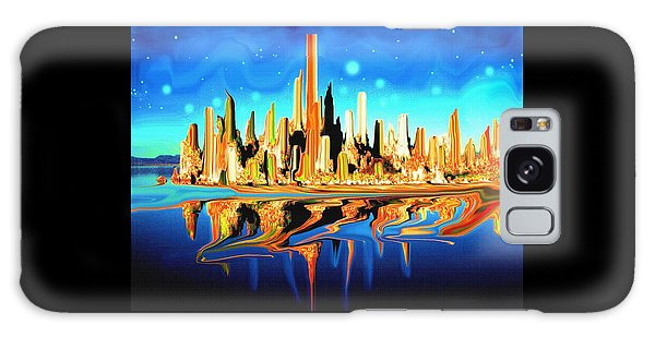 New York Skyline In Blue Orange - Abstract Art Galaxy Case by Art America Gallery Peter Potter