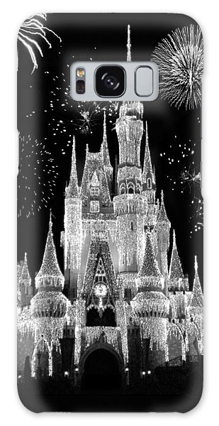 Magic Kingdom Castle In Black And White With Fireworks Walt Disney World Galaxy Case by Thomas Woolworth