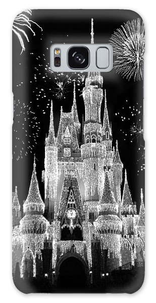 Town Square Galaxy Case - Magic Kingdom Castle In Black And White With Fireworks Walt Disney World by Thomas Woolworth