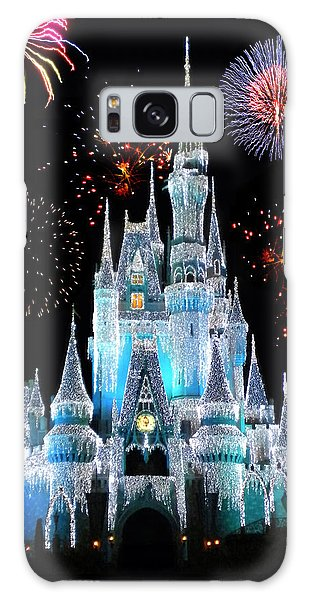 Magician Galaxy Case - Magic Kingdom Castle In Frosty Light Blue With Fireworks 06 by Thomas Woolworth