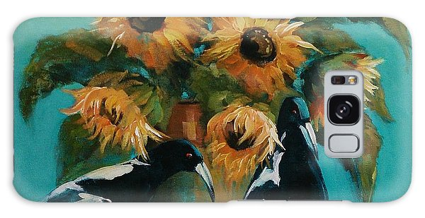 Magpies In Blue Galaxy Case by Kathy  Karas