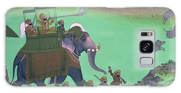 Sikh Art Galaxy Case - Maharana Sarup Singh Of Udaipur Shooting Boar From Elephant-back, Rajasthan, 1855  by Indian School