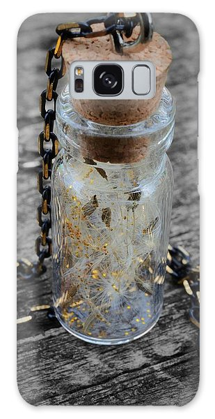 Make A Wish - Dandelion Seed In Glass Bottle With Gold Fairy Dust Necklace Galaxy Case