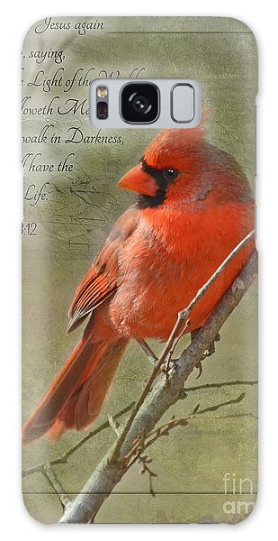 Male Cardinal On Twigs With Bible Verse Galaxy Case