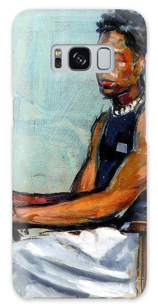 Male Figure Sitting Galaxy Case by Stan Esson