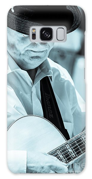 Male In Alpine Hat Playing Guitar Galaxy Case
