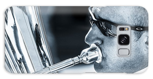 Male In Sunglasses Blowing Mouthpiece Of Tuba Galaxy Case