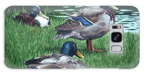 Mallards On River Bank Galaxy Case
