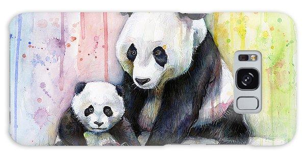 Rainbow Galaxy Case - Panda Watercolor Mom And Baby by Olga Shvartsur