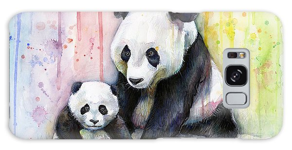 Galaxy Case - Panda Watercolor Mom And Baby by Olga Shvartsur