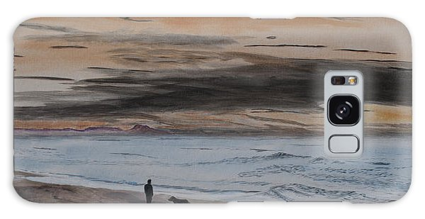 Man And Dog On The Beach Galaxy Case by Ian Donley