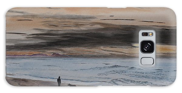 Man And Dog On The Beach Galaxy Case