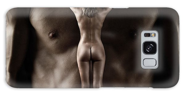Man Holding A Naked Fitness Woman In His Hands Galaxy Case