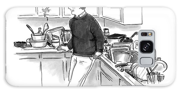 Man In Kitchen Surrounded By Dishes Galaxy Case