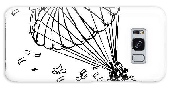 Man Parachuting While Working On His Laptop Galaxy Case