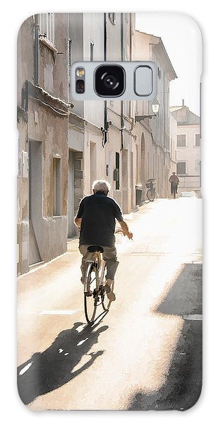 Man Riding Bicycle In Street In Puerto Pollenca Galaxy Case