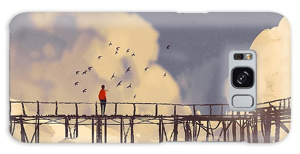 Nature Galaxy Case - Man Standing On Old Bridge In by Tithi Luadthong