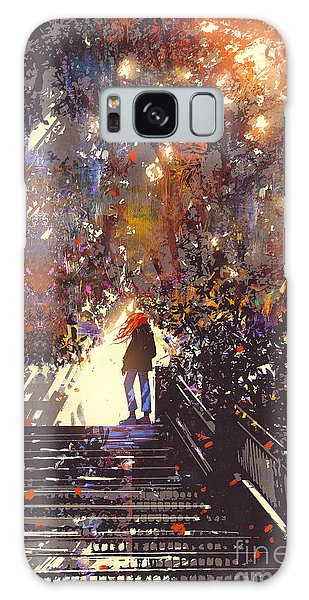 Bright Galaxy Case - Man Standing On The Top Of Stair In The by Tithi Luadthong