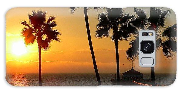 Manhattan Beach Pier And Palms At Sunset Galaxy Case