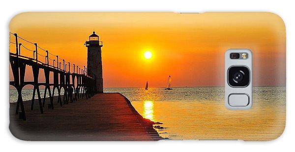 Manistee Lighthouse Sunset Galaxy Case