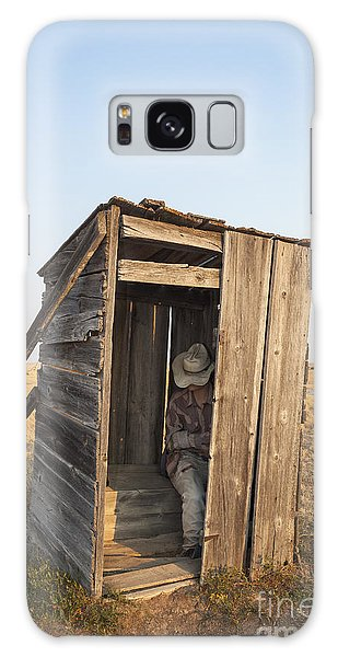 Mannequin Sitting In Old Wooden Outhouse Galaxy Case