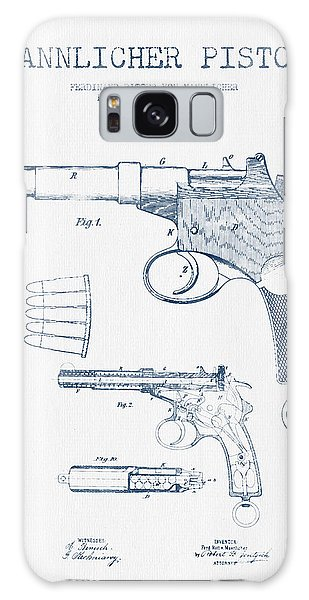 Weapons Galaxy Case - Mannlicher Pistol Patent Drawing From 1897  -  Blue Ink by Aged Pixel