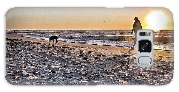 Man's Best Friend On Beach Galaxy Case