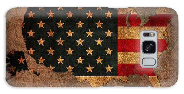 America Map Galaxy Case - Map Of America United States Usa With Flag Art On Distressed Worn Canvas by Design Turnpike