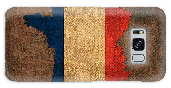 Patriotic Galaxy Case - Map Of France With Flag Art On Distressed Worn Canvas by Design Turnpike
