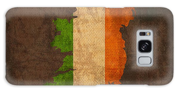 Patriotic Galaxy Case - Map Of Ireland With Flag Art On Distressed Worn Canvas by Design Turnpike