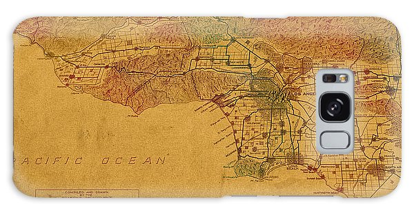 Tint Galaxy Case - Map Of Los Angeles Hand Drawn And Colored Schematic Illustration From 1916 On Worn Parchment by Design Turnpike