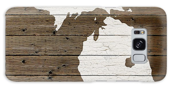 Map Of Michigan State Outline White Distressed Paint On Reclaimed Wood Planks Galaxy Case by Design Turnpike