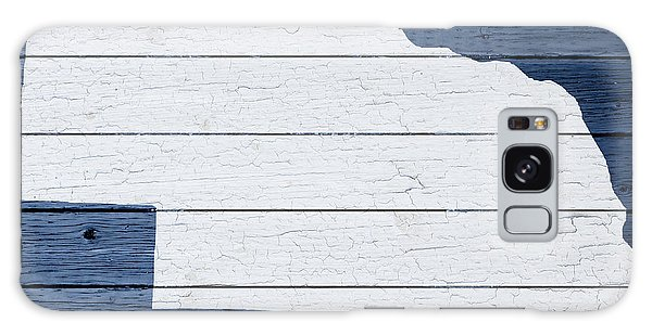 Nebraska Galaxy Case - Map Of Nebraska State Outline White Distressed Paint On Reclaimed Wood Planks by Design Turnpike