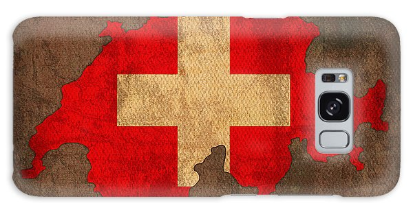 Patriotic Galaxy Case - Map Of Switzerland With Flag Art On Distressed Worn Canvas by Design Turnpike