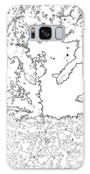 Maple Leaf Black Lines Galaxy Case by R Muirhead Art