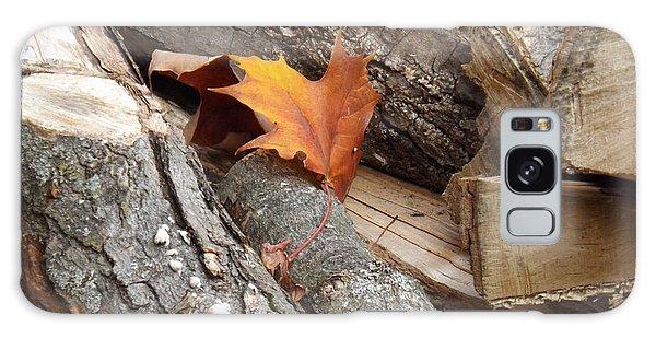 Maple Leaf In Wood Pile Galaxy Case