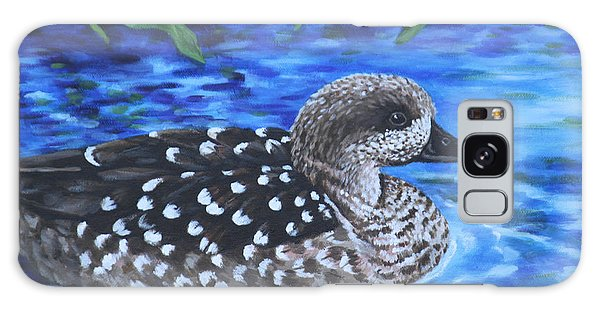Marbled Teal Duck On The Water Galaxy Case