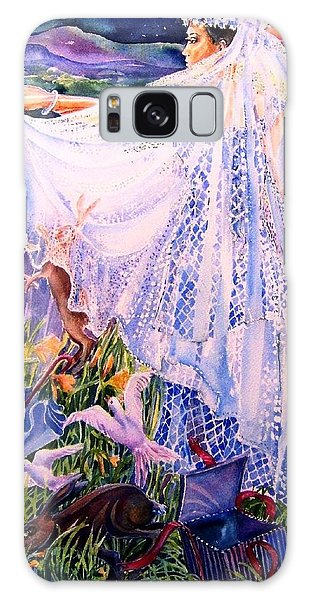 March Bride With Boxing Hares  Galaxy Case by Trudi Doyle