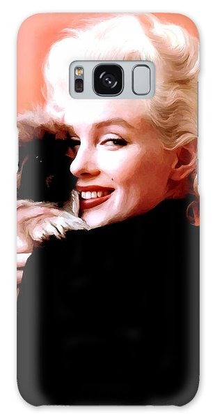 Marilyn Monroe And Pekingese Portrait Galaxy Case