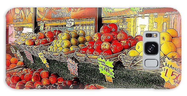 Apples And Plums In Red - Outdoor Markets Of New York City Galaxy Case by Miriam Danar
