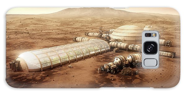 Galaxy Case featuring the digital art Mars Settlement With Farm by Bryan Versteeg