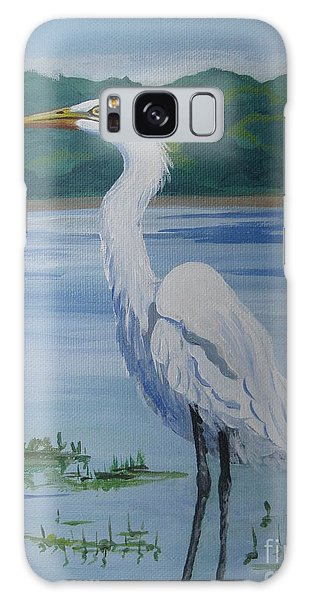 Marsh Land Egret Galaxy Case