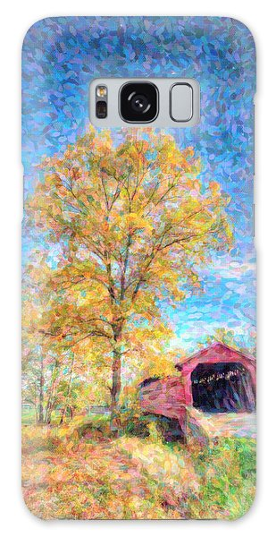 Maryland Covvered Bridge Oil Painting Galaxy Case
