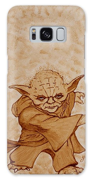Galaxy Case featuring the painting Master Yoda Jedi Fight Beer Painting by Georgeta  Blanaru