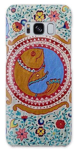 Madhubani Galaxy Case - Matsya Avatar The Avatar Of Hindu God Vishnu In The Form Of A Fish And Conch Shell by Mrudul Kolhatkar