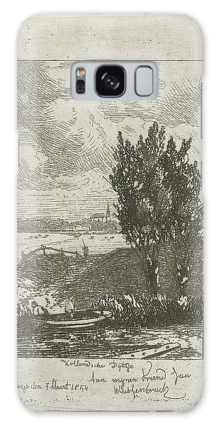 Pasture Galaxy Case - Meadow Landscape With Closed, Joseph Hartogensis by Joseph Hartogensis And Jan Weissenbruch