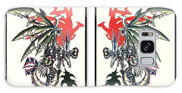 Galaxy Case featuring the painting Mech Dragons Collide by Shawn Dall