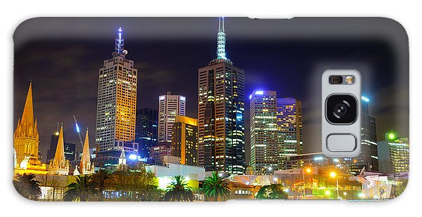 Melbourne City Skyline - Skyscapers And Lights Galaxy Case
